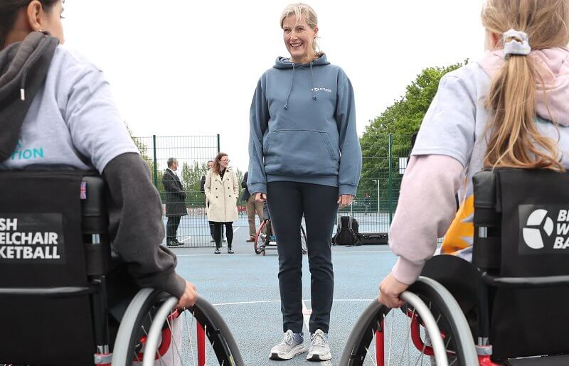 The Countess of Wessex took part in the first of British Wheelchair Basketball's wheelchair course