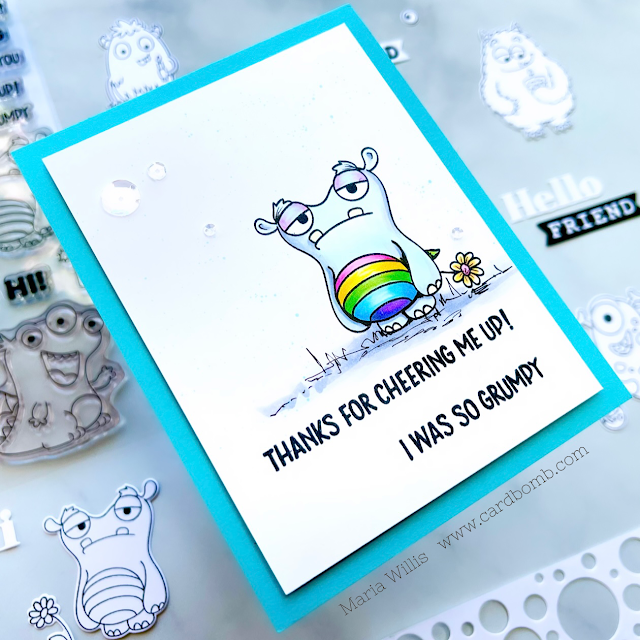 Cardbomb, Maria Willis, Tonic Studios, cards, cardmaking, monsters, stamps, stamping, ink, paper, papercraft, color, art, diy, handmade, video, video tutorial, dies,diecutting,