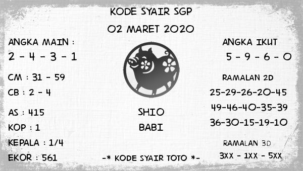 Prediksi Togel JP Singapura 02 Maret 2020 - Kode Syair Toto