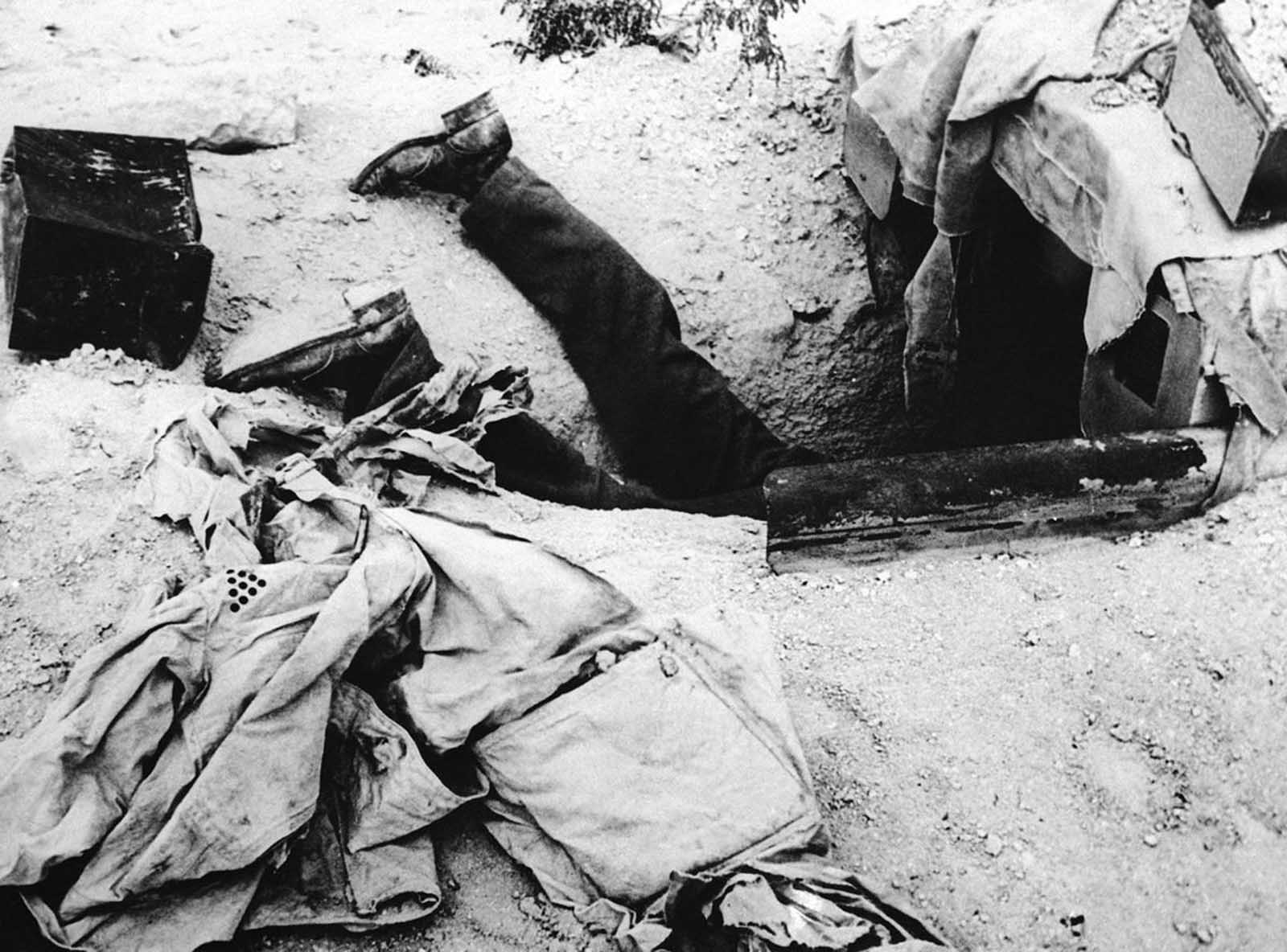 This German had sought cover in a bomb shelter, attempting to escape an Allied attack in the Libyan desert, on December 1, 1942. He did not make it.