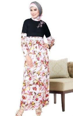 Model Gamis Batik Kombinasi Polos wanita muslimah
