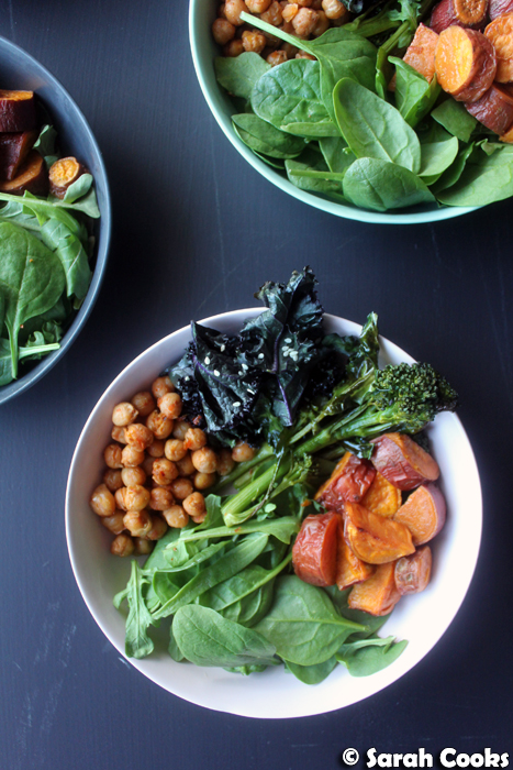 Sweet potato and kale bowls with crisp harissa chickpeas and sesame dressing