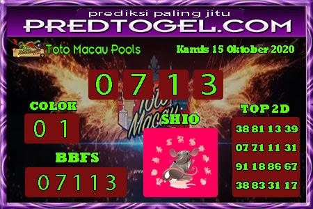Pred Macau Kamis 15 Oktober 2020
