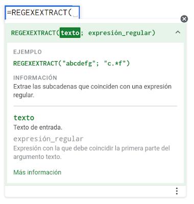 Ayuda contextual de la función REGEXEXTRACT.