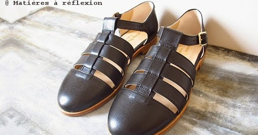 Anne Thomas Noir Chaussures Méduses Cuir Ouvertes Sandales 7bgyf6