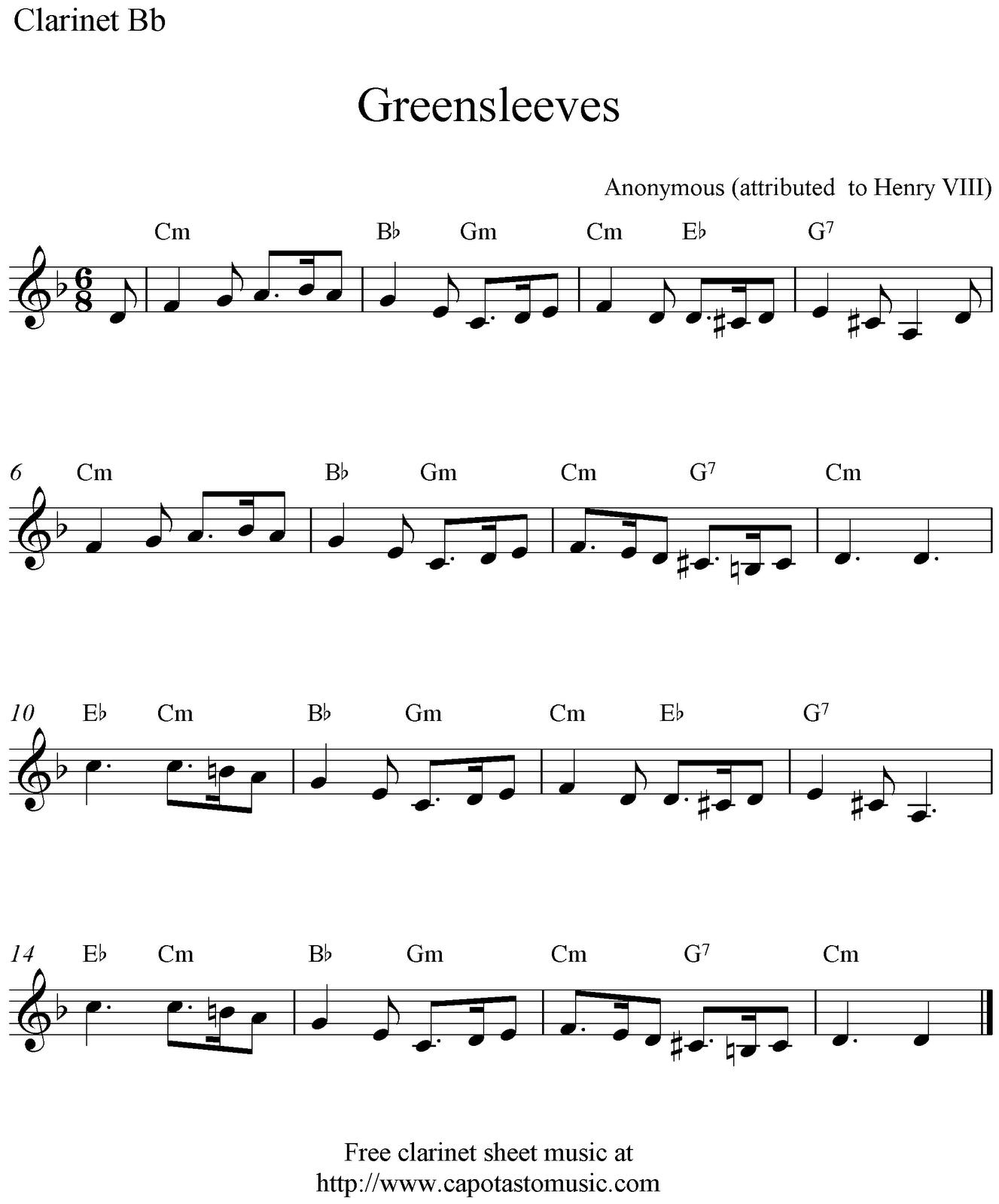 Greensleeves, Free Clarinet Sheet Music Notes