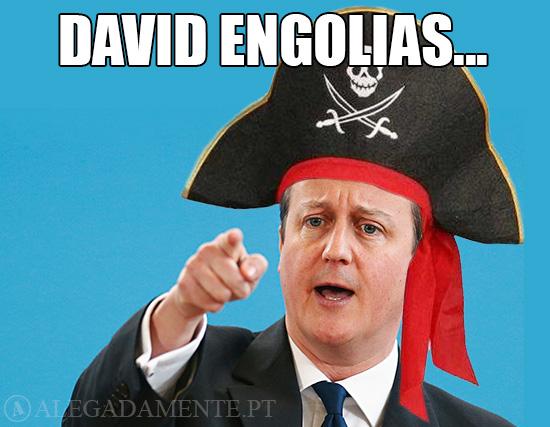 Imagem de David Cameron com chapéu de pirata - David Engolias…