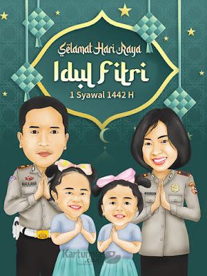 Karikatur Keluarga Ucapan Lebaran