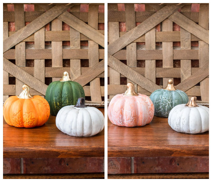 dollar store pumpkins before and after