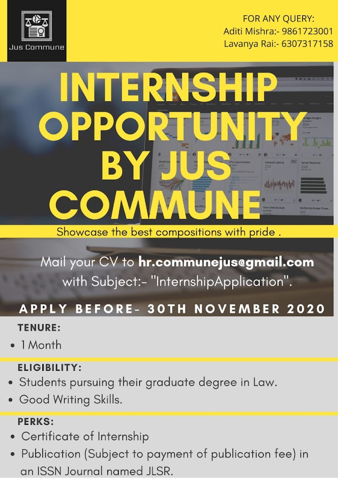 INTERNSHIP OPPORTUNITY BY JUS COMMUNE: SEND YOUR APPLICATIONS BY 30TH NOVEMBER 2020