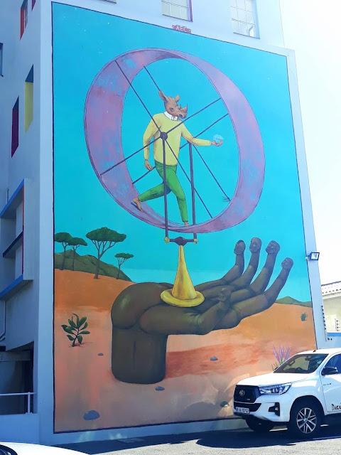Surreal rhino street art by AEC - Interesni Kazki in Cape Town