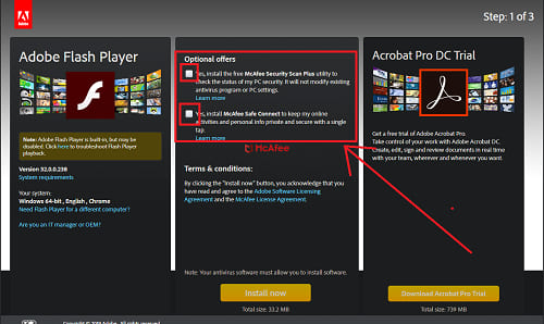 Uncheck unwanted offer by adobe flash player