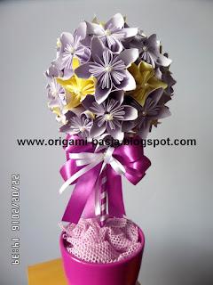 Drzewko z kwiatów kusudama - origami.