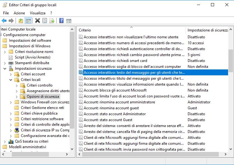 Accesso interattivo: testo del messaggio per gli utenti che tentano l'accesso