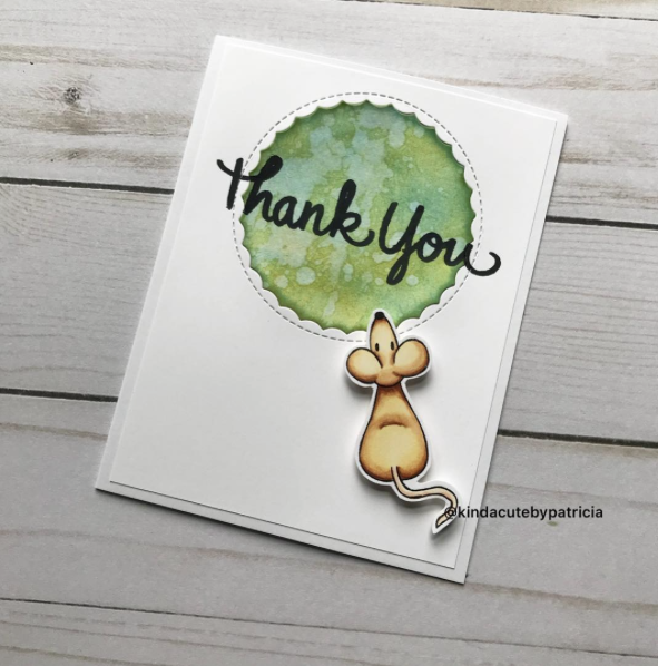 thank you card using mice set digital stamp