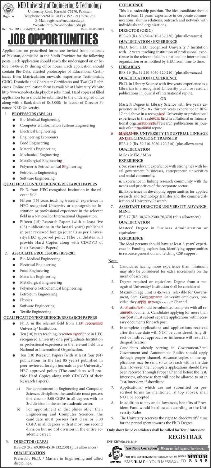 Jobs in NED University of Engineering & Technology Karachi for