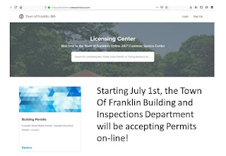 Town of Franklin Building and Inspections Department can process Permits on-line