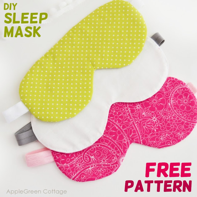Learn how to make a sleep mask. Tutorial and free pattern by AppleGreen Cottage