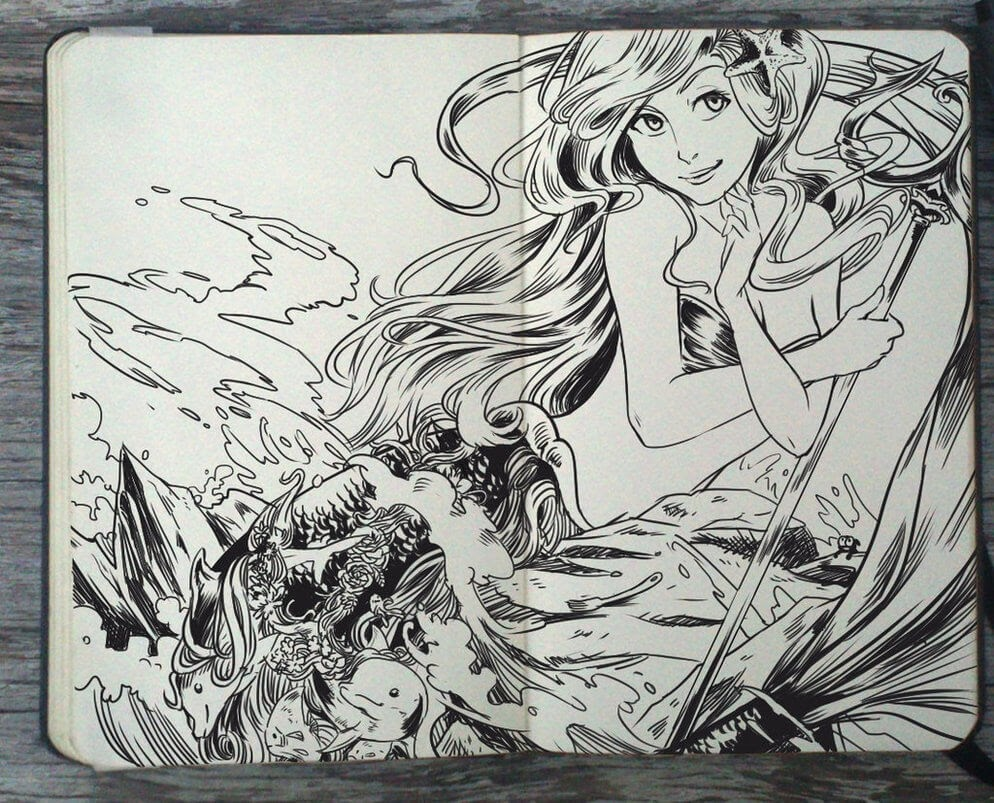 11-Ariel-The-Little-Mermaid-Gabriel-Picolo-Disney-Fantasy-Ink-Drawings-in-Moleskine-Illustrations-www-designstack-co