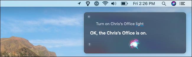 تشغيل مصباح Hue باستخدام Siri على جهاز Mac.