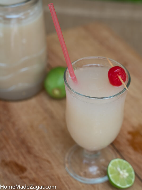 A glass of soursop drink