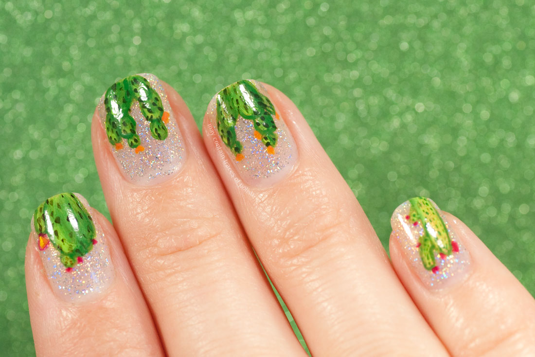 Freehand Cacti Nail Art - green cactus manicure