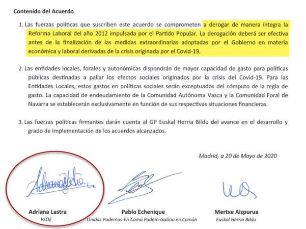 La firma del pacto de la vergüenza