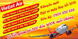 Vé máy bay tết 2016 của Vietjet Air