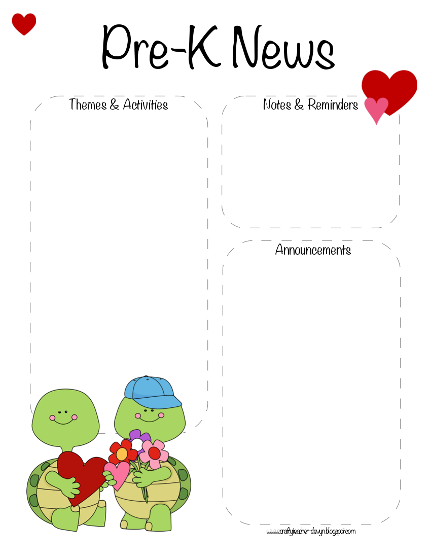 Pre-K Valentine's Day, February Newsletter Template | The ...