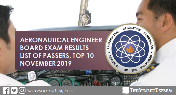 FULL RESULTS: November 2019 Aeronautical Engineer board exam list of passers, top 10