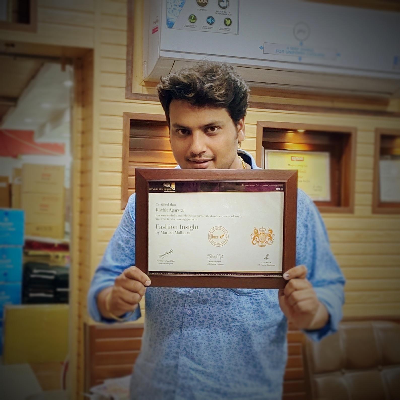 Fashion Blog By Rrachit Fashion Insight Certificate By Manish Malhotra