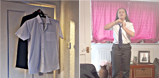 Ironed uniform & my youngest putting her tie on
