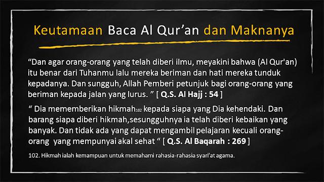 keutamaan Baca Al Quran dan Maknanya