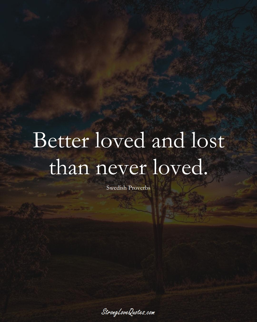 Better loved and lost than never loved. (Swedish Sayings);  #EuropeanSayings