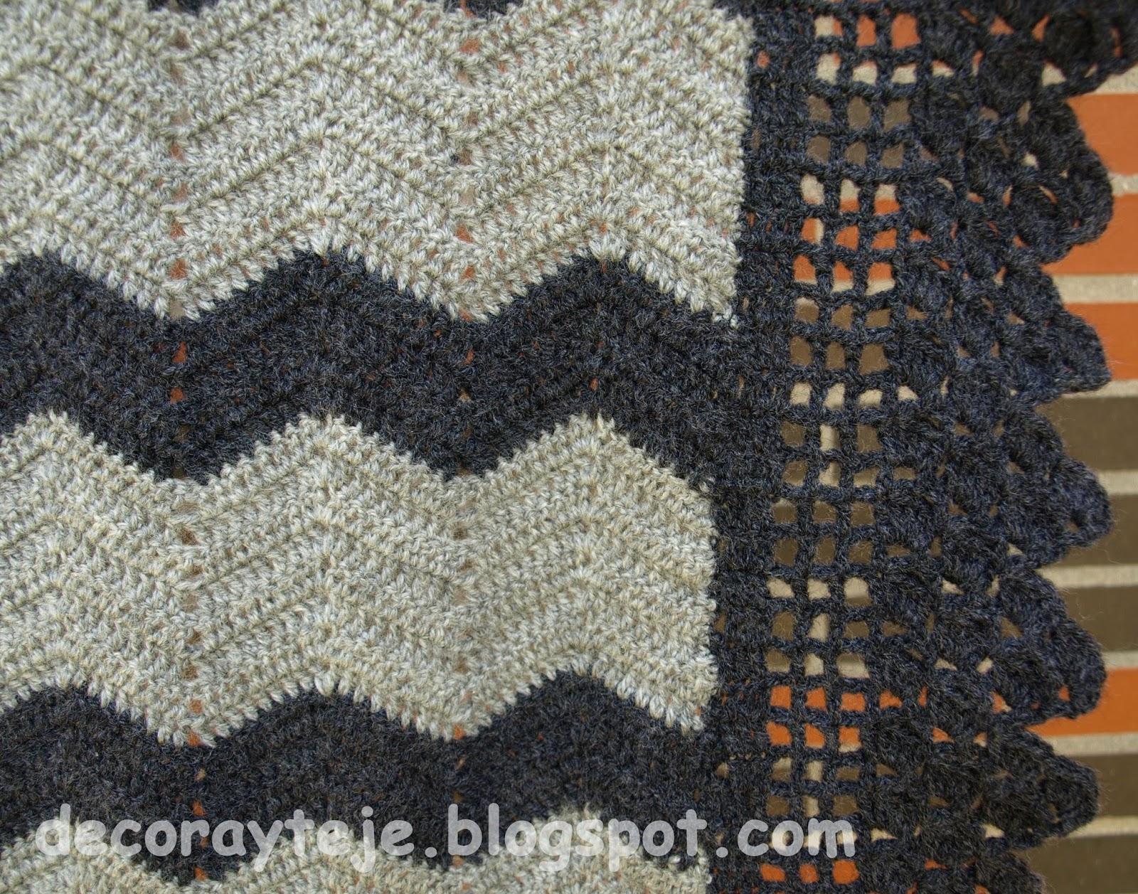 Decora y Teje: Manta de ganchillo en tonos grises