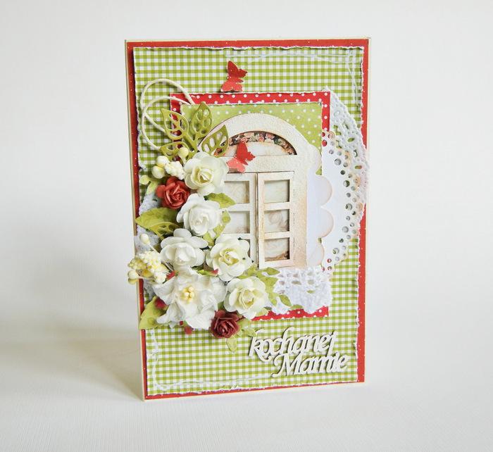 Ręcznie robiona kartka dla mamy z kwiatami