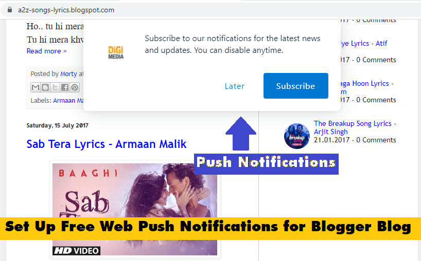 How to Set Up Free Web Push Notifications for Blogger blog with pictures