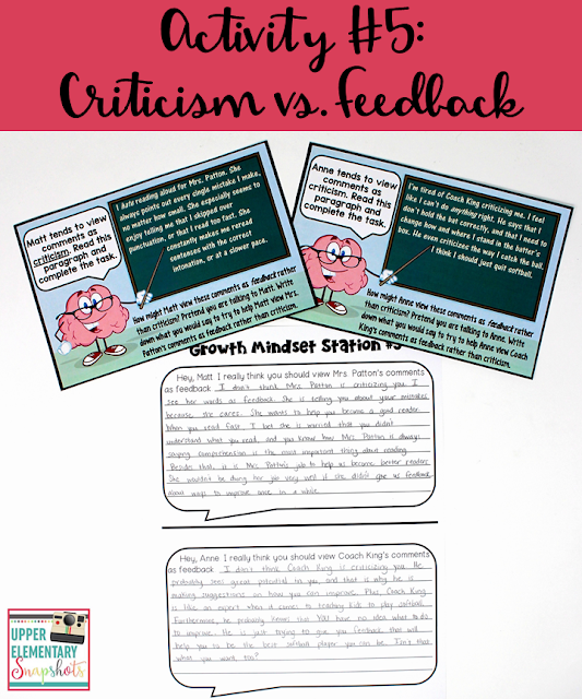One of five FREE growth mindset learning centers! Students explore how positive feedback can be perceived as criticism, and how that attitude can be changed using a growth mindset.