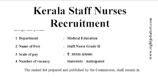 Kerala PSC staff Nurses Recruitment 2021