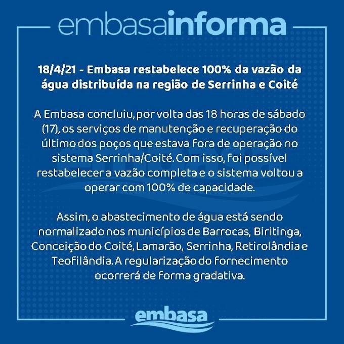 Embasa restabelece 100% da vazão da água distribuída na região de Serrinha e Coité