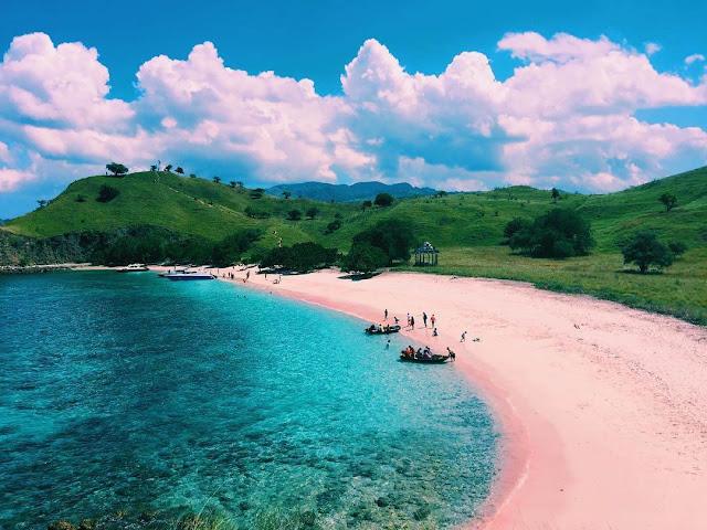 foto pantai pink lombok indah