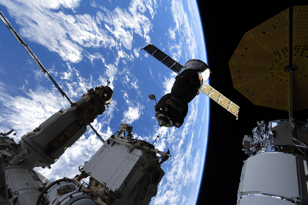 The Soyuz MS-18 vehicle departs from Russia's Rassvet module at the ISS...on September 28, 2021.