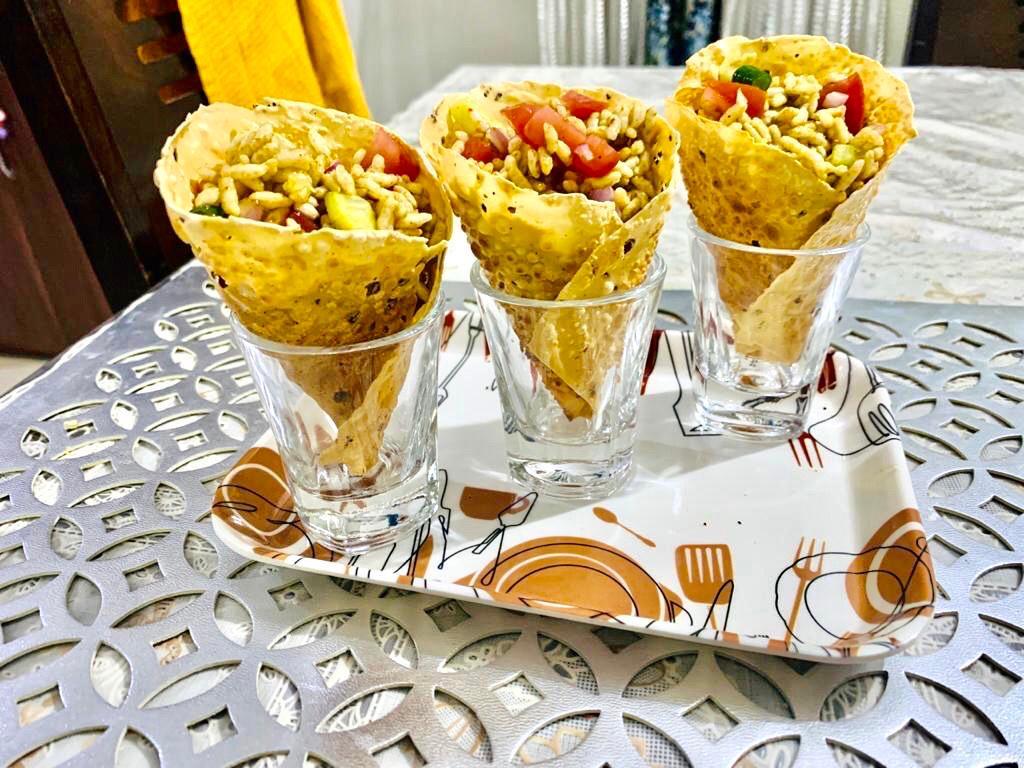 papad-cone bhelpuri-chaat