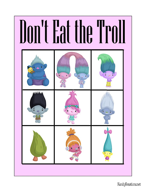 Play Don't Eat Pete with your favorite Trolls.  This printable game is perfect for a Trolls party or just for a fun family party.