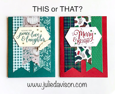 This or That? Stampin' Up! Everything Festive Cards for Autumn and Christmas ~ 2019 Holiday Catalog ~ Card Layout ~ www.juliedavison.com