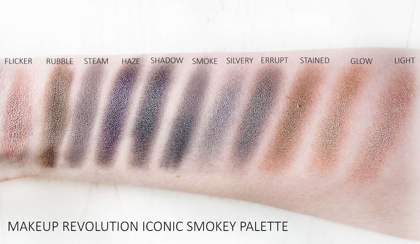 Makeup Revolution Iconic Smokey Palette Swatches