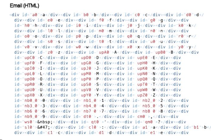 ROPEMAKER, Matrix - Email contenente tutti i possibili caratteri attivabili per ciascuna posizione