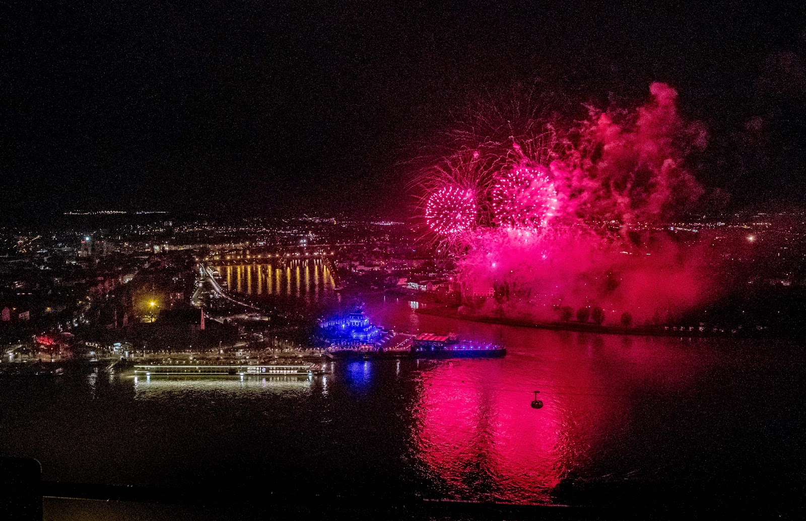 Fireworks lit up the night in Koblenz, Germany, last week as seen from the Ehrenbreitstein Fortress across the Rhine River. Photo: © Viking Cruises. Unauthorized use is prohibited.