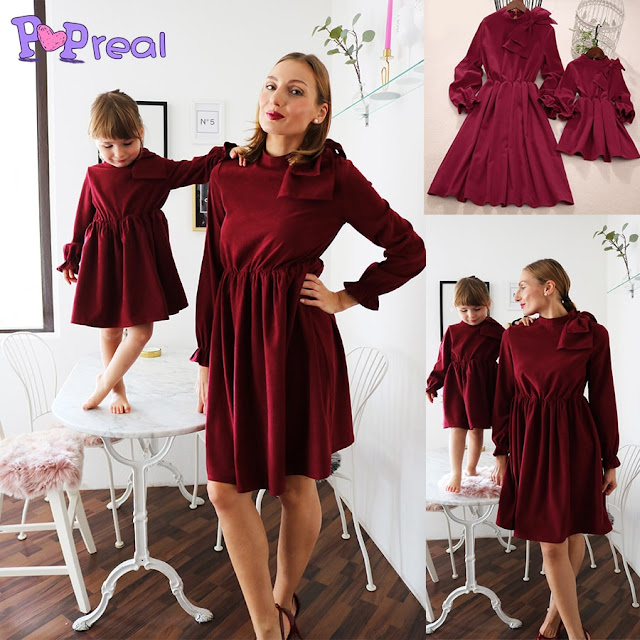Mom Girl Solid Color Bowknot Decorate Matching Dress