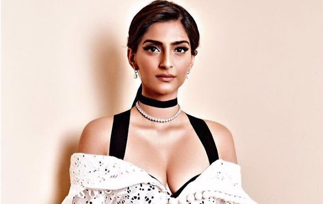 Sonam Kapoor Deep Cleavy Show at a Charity Event